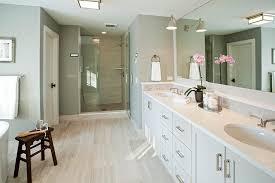 Mirrored Subway Tile Backsplash Bathroom Transitional With by Bathroom With Grey Wood Like Floor Tiles Transitional Bathroom