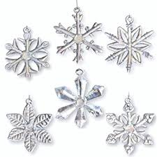 glass snowflake ornaments set of 6 iridescent