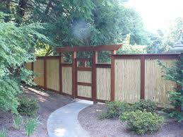 dazzling bamboo fencing in landscape asian with bamboo gate next