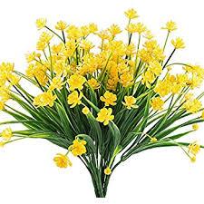plastic flowers artificial flowers hogado 4pcs faux yellow