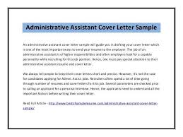 Cover Letter Administrative Assistant Template Admin Cover Letter Sles Sle Cover Letter Administrative