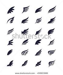 set four pairs wings crowns vector stock vector 289322048