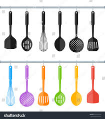 black colorful hanging plastic kitchen utensil stock vector