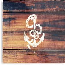 vintage nautical anchor white on brown wood grain metal prints by