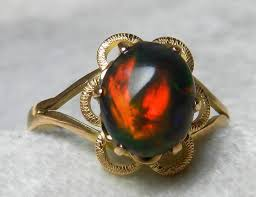 black opal engagement rings opal engagement ring black opal vintage ring 1 0 carat black opal