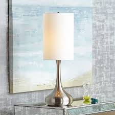 droplet table lamp in steel finish with cylinder shade v4325