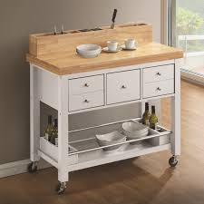 coaster 102669 white and natural storage kitchen cart with drawers