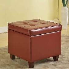tufted square dark red leatherette storage ottoman free shipping
