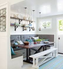 custom breakfast nook set with white wood storage bench and drawer