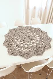 a giant crocheted doily rug for the dining room table