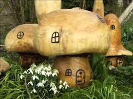 wooden garden ornaments sculpture toadstool play