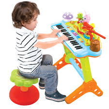 kids musical electronic keyboard piano organ microphone stool