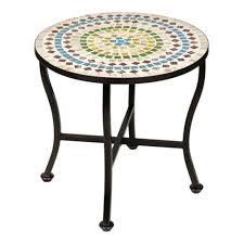 Mosaic Patio Furniture Colored Mosaic Outdoor Side Table Kirklands