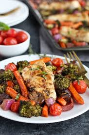 Cooking Preparation Moving Vegetables On by One Pan Balsamic Chicken Veggie Bake The Real Food Dietitians