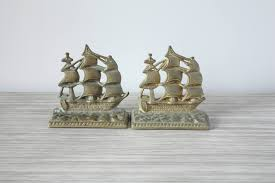 vintage brass sailboat bookends or doorstops heavy weighted with