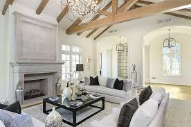 Chandelier For Cathedral Ceiling White Living Room With Truss Ceiling Transitional Living Room