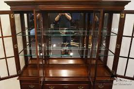 Antique Breakfront China Cabinet by High End Used Furniture Southwyck Nathan Hale Solid Cherry 66