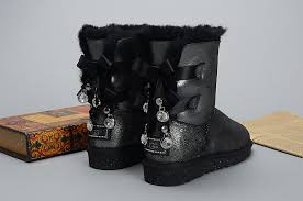 ugg australia bailey sale ugg bailey bow bling i do 1004140 leather womens black boots uk sale