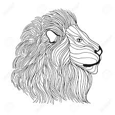 lion head antistress coloring page black white hand drawn