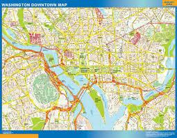 Washington Monuments Map by Washington Downtown Map Netmaps Usa Wall Maps Shop Online
