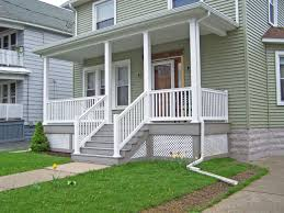 External Handrails Grey Wooden Porch With White Railing And Bar Pillar Latest