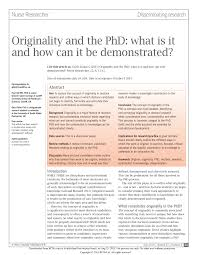 how to write a good abstract for a research paper originality and the phd what is it and how can it be demonstrated originality and the phd what is it and how can it be demonstrated pdf download available