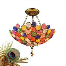ceiling light made in china hand made bohemia exotic creative colorful crystal led chain pendant