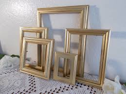 gold picture frame set up cycled vintage shabby chic photo