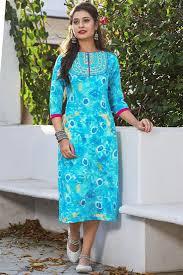 gorgeous sky blue color cotton party wear kurti