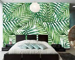 livingroom restaurant custom wall leaf wallpaper watercolor tropical palm leaves fresco