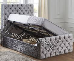paco storage side opening ottoman bed upholstered in velvet double