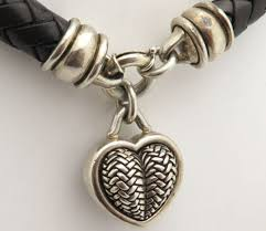 heart leather necklace images Barry kieselstein cord bkc sterling silver heart braided leather jpeg