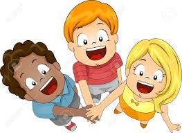 illustration of kids joining forces stock photo picture and