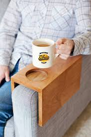 Table Cup Holder Sofa Hack Wooden Armrest Table With Built In Cup Holder Make