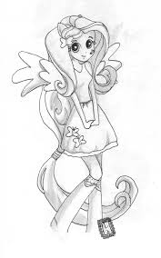 fluttershy equestria colouring for the girls pinterest