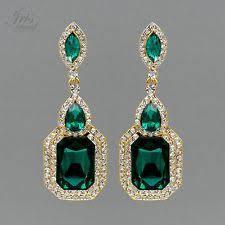 emerald green earrings rhinestone yellow gold plated drop dangle fashion earrings ebay