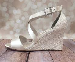silver wedding shoes wedges ivory wedding shoe wedges with lace overlay ellie wren