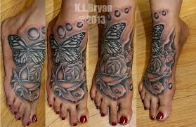 traditional rose foot tattoo 2015