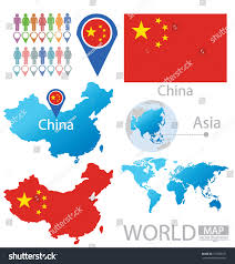World Map Asia by China Peoples Republic China Flag Asia Stock Vector 151386167