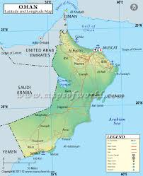 middle east map gulf of oman latitude and longitude map