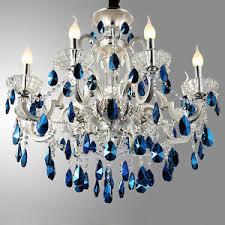blue crystal chandelier light luxury ceiling light pendant l silver finish blue crystal