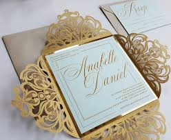 laser cut invitations gold laser cut wedding invitations sle mint and gold