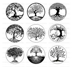 tree of black and white tree clipart digital