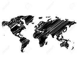 Vector World Map Vector World Global Map Sketch In Black And White Royalty Free