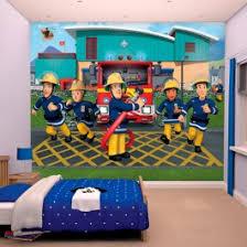 chambre enfant pompier papier peint enfant sam le pompier walltastic 305x244 cm papier