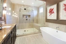 Point Shower Bathroom Mediterranean With Beige Tile Backsplash - Bathtub backsplash
