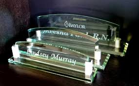 Desk Name Plates With Business Card Holder Personalized Desk Name Plates From Crystal Images Inc