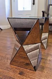 small end table mirrored futuristic style with side designs and