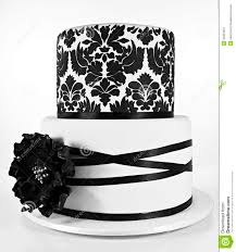 damask ribbon black and white two tiered cake royalty free stock photography