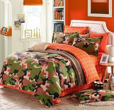 Orange Camo Bed Set Camouflage Army Bedding Sets King Size Cotton